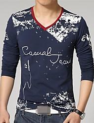 v hals lange mouw afdrukken t-shirts voor mannen (meer kleuren)