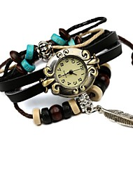Women's Hot Leather Beaded Leaf Bracelet Watch