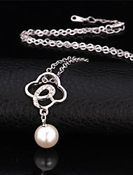 U7® Four Leaf Clover Pendant Necklace 18K Real Gold Plated Rhinestone Pearl Necklace Fashion Jewelry