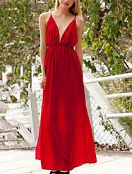 Maxi - Vestido - Misturas de algodão - Cinto Não Incluso