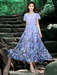 Women's Vintage Dress Maxi Short Sleeve Purple / Multi-color Summer