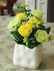 rosa amarela flores artificiais com vaso