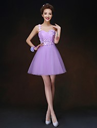 Short/Mini Bridesmaid Dress - Lilac A-line / Princess One Shoulder