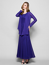 Lanting Bride® A-line Plus Size / Petite Mother of the Bride Dress - Wrap Included Ankle-length Long Sleeve Chiffon with