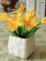 lírios amarelos artifical flores com vaso