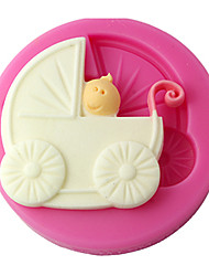 FOUR-C Silicone Cupcake Mold Baby Carriage Fondant Mould,Cake Decoration,Fondant Decorating Tools Supplies Color Pink