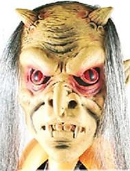 ojos de color rojo con gris máscara de látex de pelo para halloween