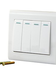 250V 10A Wall Concealed Four Single Control Switch Panel - White