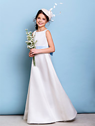 Lanting Bride® Floor-length Satin / Tulle Junior Bridesmaid Dress A-line Jewel with Bow(s) / Sash / Ribbon