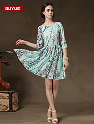 Suyue® New Fashion Women's   Chiffon Vintage Print Half Sleeve Dress