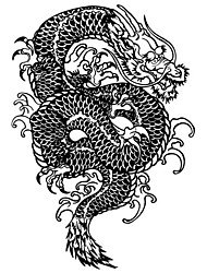 1PC Large Big Temporary Tattoos Black Dragon Pattern Wedding Party Tattoos Fake Tattoos for Body Art(31*21.5CM)