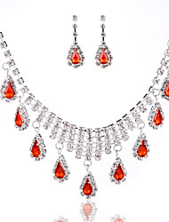 Ladies'/Women's Alloy Wedding/Party Jewelry Set With Rhinestone Red