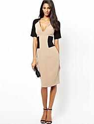 Women's Plus Size V-Neck Vintage  Pencil Dresses