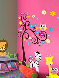 stickers muraux Stickers muraux de style, les arbres de hibou zèbre lion pvc animal stickers muraux