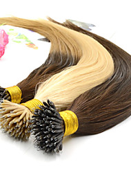 "12""-26"" Human Hair Nano Extensions Straight 100g/pk 100% Indian Human Remy Hair Nano Ring Hair Extensions + 100 Beads"