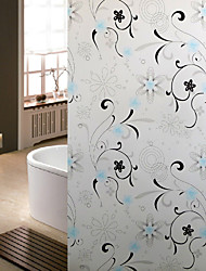 Bathroom Window Film & Stickers,  Flower Vine Glass Door Sticker (100*90cm)