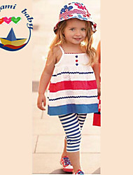 Girl's Summer Inelastic Thin Sleeveless Clothing Sets (Cotton Blends)
