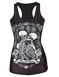 Women's Sexy/Bodycon/Beach/Casual/Cute Round Sleeveless Vests (Polyester)