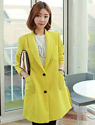 Women's Blue/Yellow Blazer , Party/Work Long Sleeve