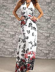 Women's  Summer Print Flower With Crystal Beach Long Dress