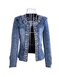 Women's Denim Jacket , Sexy/Casual Long Sleeve