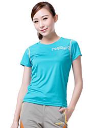 Extérieur Femme Hauts/Tops / T-shirt Camping & Randonnée / Fitness / Courses / Sport de détente Respirable / Séchage rapide EtéVert /