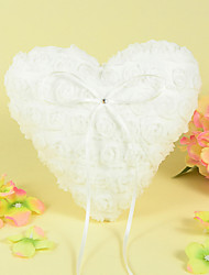 Heart Ring Pillow In Satin With Rose Design