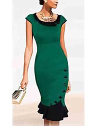 VERYM Women's Vintage/Sexy/Bodycon Round Short Sleeve Dresses (Cotton Blend)