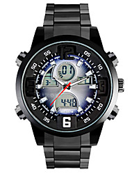 Men Military Sports Watches Quartz Analog Digital Colourful LED Full Stainless Steel Casual Dress Wristwatches Relogio