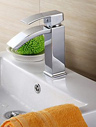Contemporary Brass Chrome Vertical Bathroom Sink Faucet - Silver