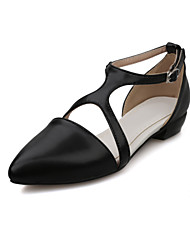 Sandals Spring Summer Fall Comfort Ankle Strap PU Office & Career Casual Athletic Low Heel Buckle Black Pink White Walking