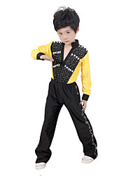 Latin Dance Performance Outfits Boy's Performance Polyester Sequins Outfit Yellow Kids Dance Costumes