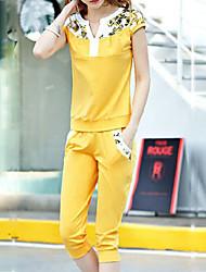 Women's Casual Cute Work Micro elastic Short Sleeve Regular T-shirt (Cotton)
