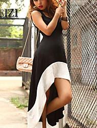 BAOTU®Sexy low U brought the white edge stitching dovetail skirt and elegant Dress