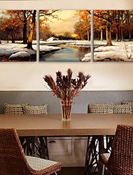 e-home® CANVAS és o conjunto pintura decorativa neve floresta de 3