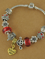 Women's Pulseiras Femininas of Silver Plated DIY Heart Charms and Beads Bracelet