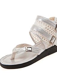 Sandales ( Multi-couleur Escarpin-sandale/anneau d'orteil/Spartiates/Bout rond - Talon plat - Similicuir - pour FEMMES
