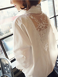Q.S.H Women's Vintage/Sexy/Bodycon/Beach/Lace/Party Long Sleeve Casual Shirts (Cotton Blend/Lace)