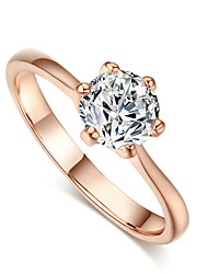 T&C Women's 18k Rose Gold Plated Classic 6 Prong Sparkling Solitaire 1ct Cz Wedding Ring