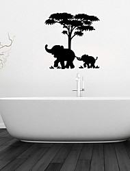 Wall Stickers Wall Decals, Elephant And Baby Elephant Bathroom Decor Mural PVC Wall Stickers