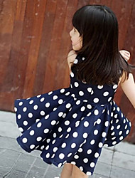 Girl's White Dots Bowknot Princess Dress