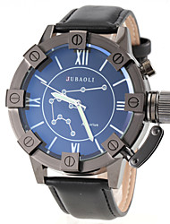 Men's Aquarius Pattern Black Leather Band Quartz Wrist Watch