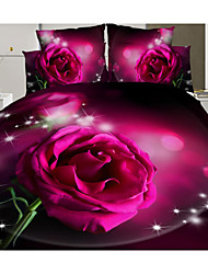 Rose 3D Print Bedding 4 Piece Duvet Cover Sets