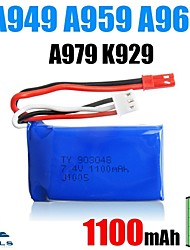 2pcs/pack 7.4v 1100mAh Lipo JST WLtoys Battery for A949 A959 A969 A979 k929辆Original High-speed Car Batteries