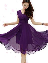 Women's Dresses , Chiffon Beach/Casual/Work Short Sleeve ManSha