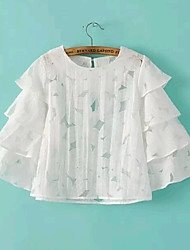 Women's Summer Korea Sexy/Casual/Cute Inelastic Short Sleeve Regular Blouse (Lace/Organza)