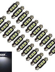 JIAWEN® 20pcs Festoon 36mm 1W 3x5050SMD 60-70LM 6000-6500K Cool White Light LED Car Light (DC 12V)