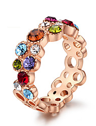 HKTC Beautiful Lady`s Finger Ring 18k Rose Gold Plated with Shining Colourful Austria Crystal