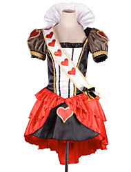 Gorgeous Red Hearts Queen Satin & Chiffon Cosplay Costume