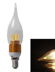 6pcs 4W E14 6xC0B 500LM 3000K Warm White Color  LED Candle Pull Tail Light (AC85-265V)